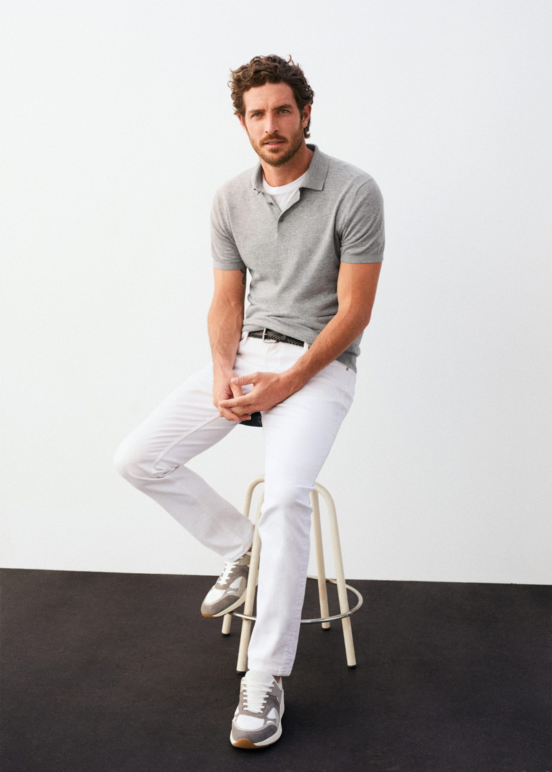 Embracing neutrals, Justin Joslin dons a look from Mango.