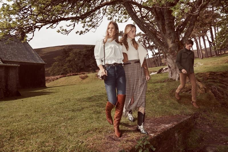 Glen Luchford photographs Anna Ewers, Rebecca Leigh Longendyke, and Mathias Lauridsen for Mango's fall 2019 campaign.