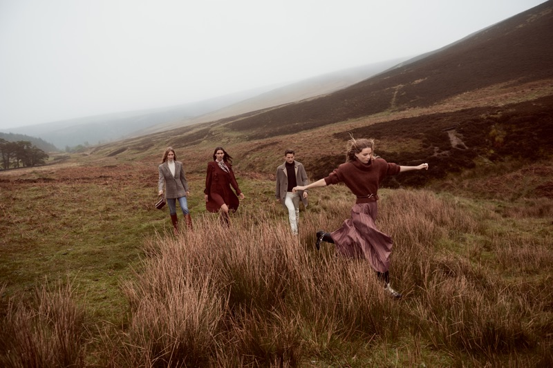 Anna Ewers, Kaya Wilkins, Hugo Sauzay, and Rebecca Leigh Longendyke front Mango's fall 2019 campaign.