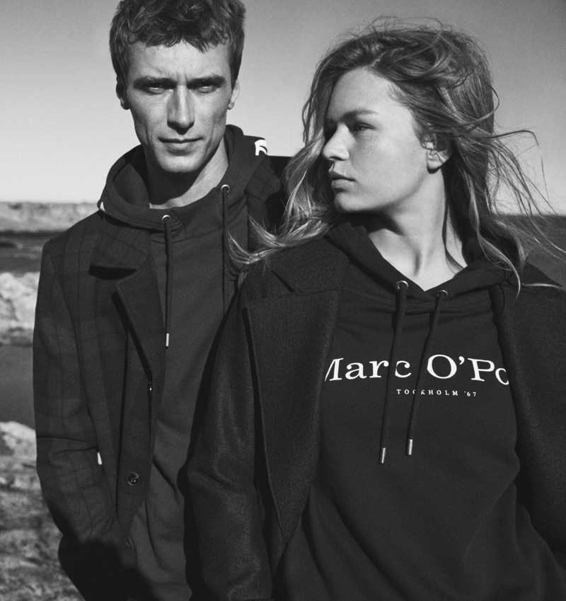 Models Clément Chabernaud and Anna Ewers front Marc O'Polo's fall-winter 2019 campaign.