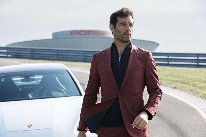 Donning a sharp suit, Mark Webber fronts the BOSS x Porsche fall-winter 2019 campaign.