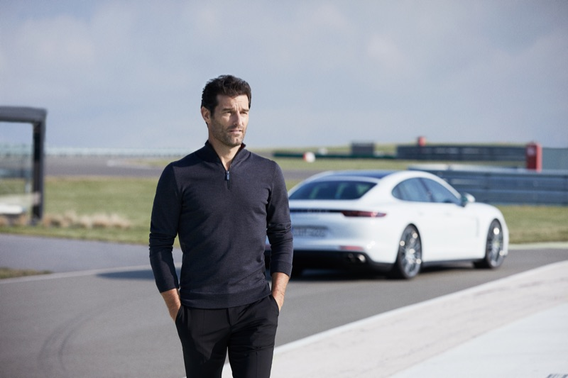 A smart vision in a polo, Mark Webber appears in the BOSS x Porsche fall-winter 2019 campaign.