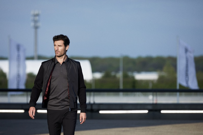 Taking to the track, Mark Webber stars in the BOSS x Porsche fall-winter 2019 campaign.