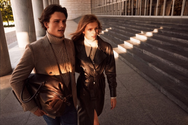 Models Simon Nessman and Deirdre Firinne front Massimo Dutti's fall-winter 2019 campaign.