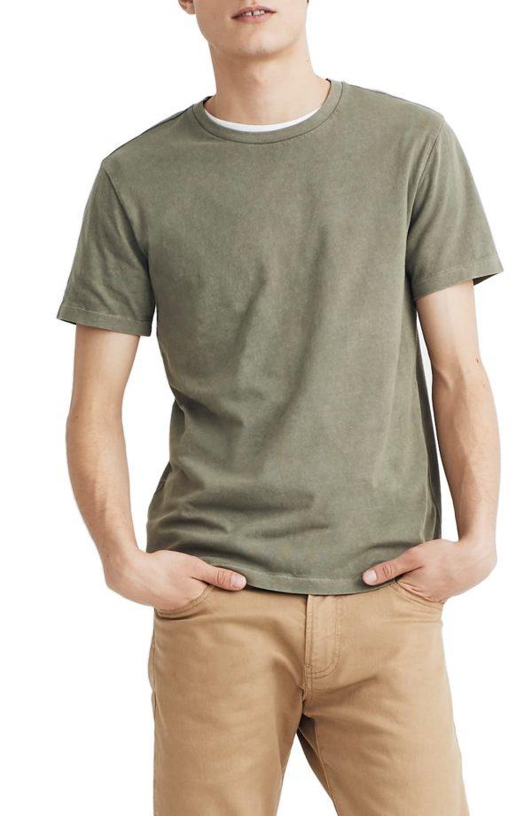 Men's Madewell Allday Slim Fit Garment Dyed T-Shirt, Size Medium - Green