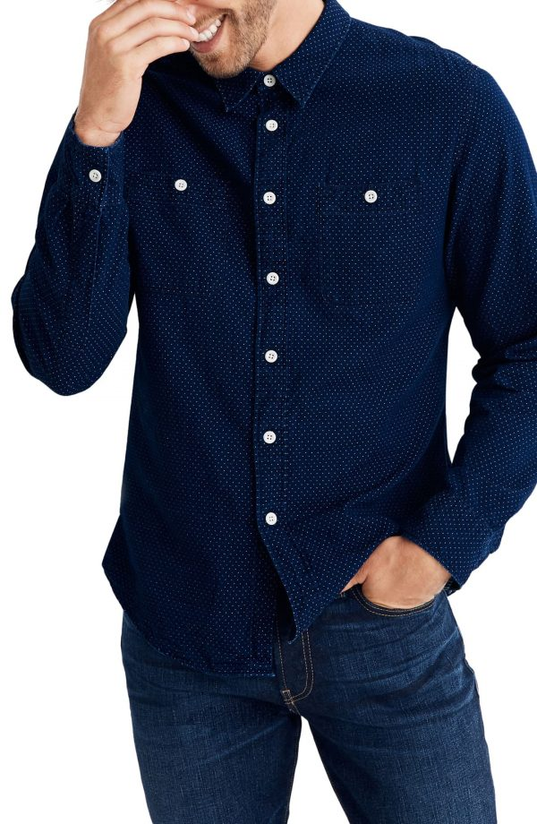 Men's Madewell Textured Dot Long Sleeve Work Shirt, Size Small - Blue