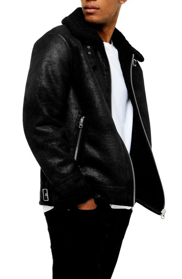 Men's Topman Faux Shearling Classic Aviator Jacket, Size Large - Black