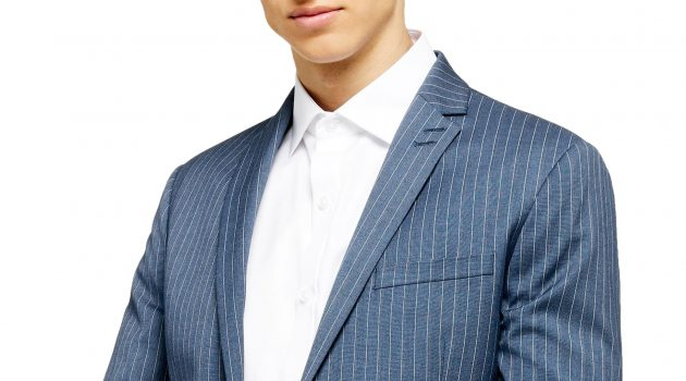 Men's Topman Felix Pinstripe Super Skinny Suit Jacket, Size 36R - Blue