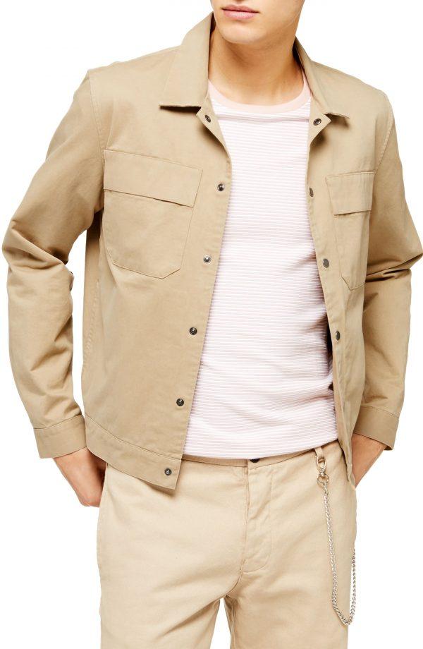 Men's Topman Oversize Shirt Jacket, Size X-Small - Beige