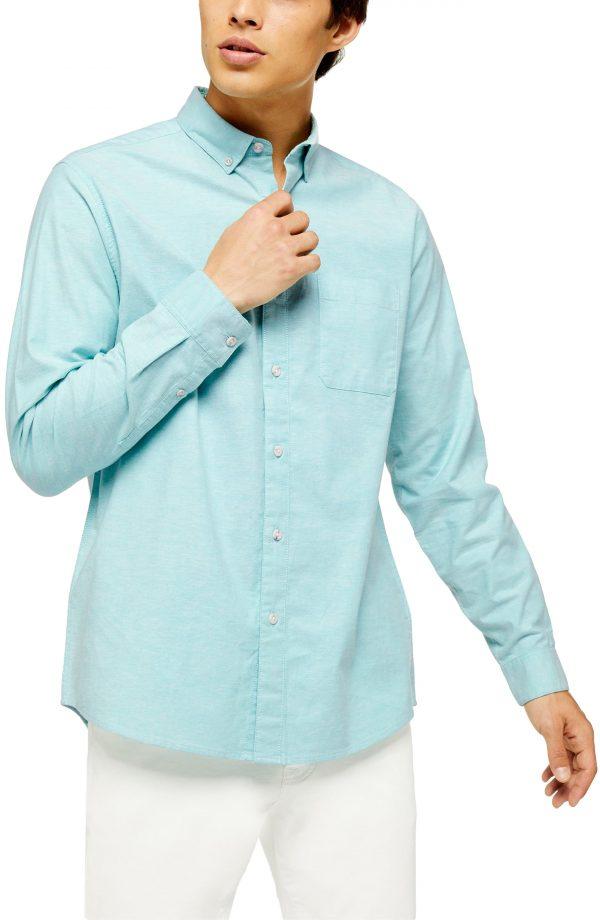 Men's Topman Oxford Skinny Fit Stretch Cotton Button-Down Shirt, Size Large - Blue