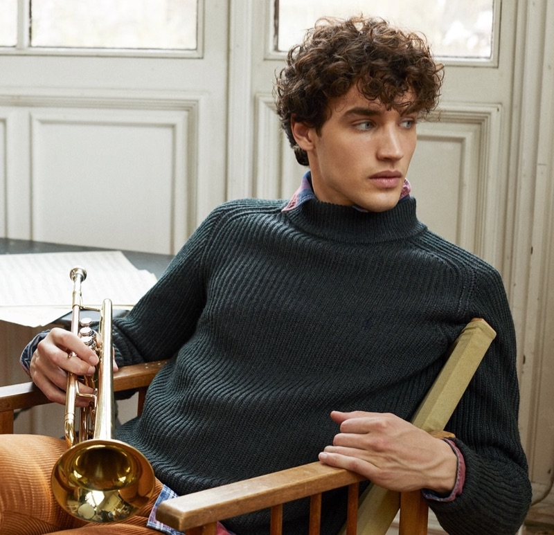 Federico Novello sports a ribbed sweater and plaid shirt for Morris Stockholm's fall-winter 2019 campaign.