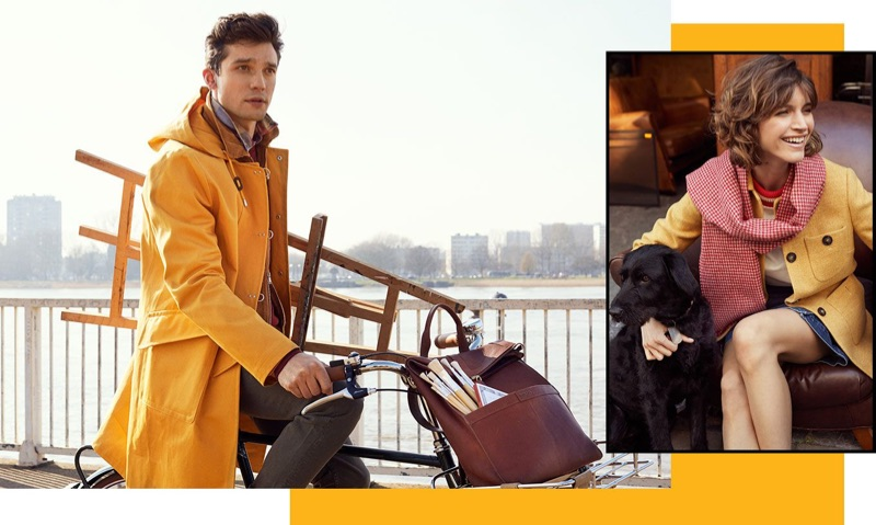 Embracing a pop of color, Alexis Petit rocks a yellow coat for Morris Stockholm's fall-winter 2019 campaign.