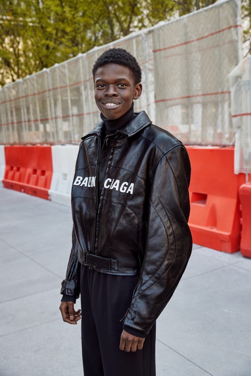 All smiles, Malle Gueye wears Balenciaga for Nordstrom's fall 2019 campaign.