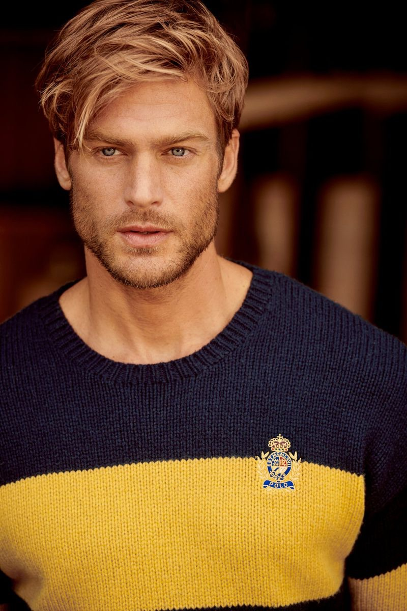 Front and center, Jason Morgan appears in POLO Ralph Lauren's fall-winter 2019 campaign.
