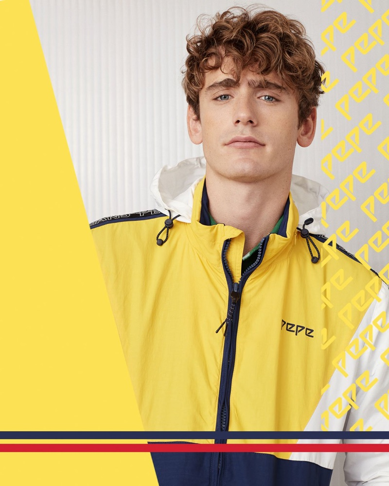 Pepe Jeans taps Tom Webb to showcase a yellow windbreaker from its Pepe collection.
