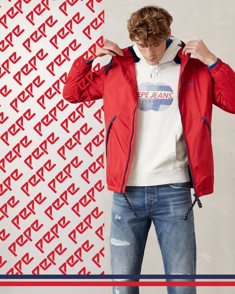 British model Tom Webb goes sporty in a look from Pepe Jeans' Pepe collection.