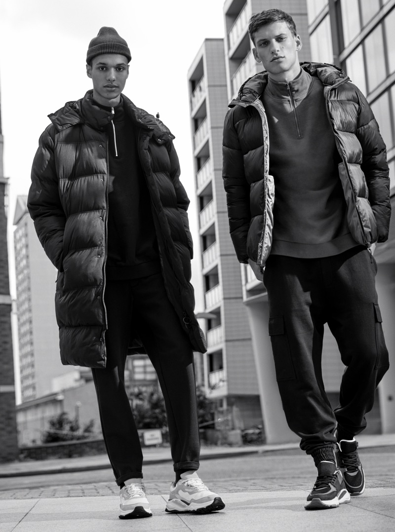 Ready for the cold, Gilbert Van Damme and David Trulik sport puffer jackets from Pull & Bear's Urban collection.