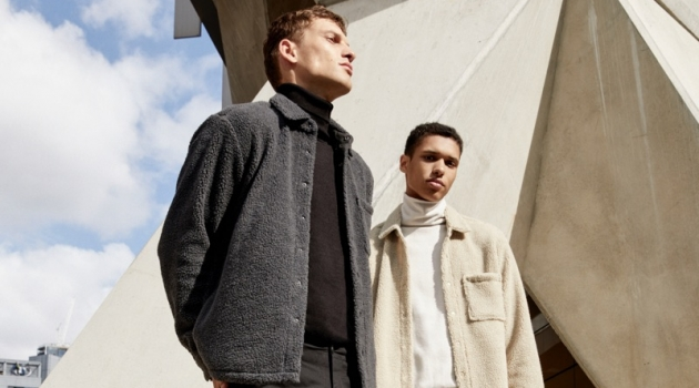 Models David Trulik and Gilbert Van Damme wear fall looks from Pull & Bear's Urban collection.