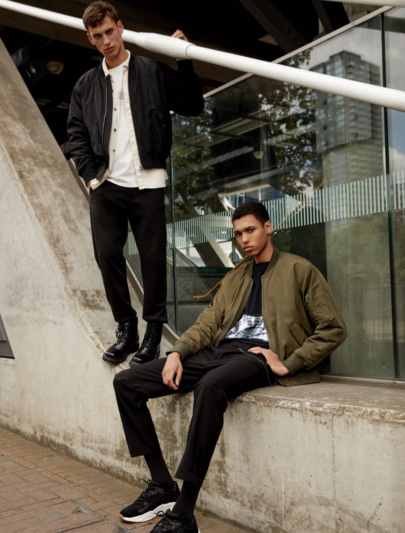 Showcasing Pull & Bear's Urban collection, models David Trulik and Gilbert Van Damme come together.