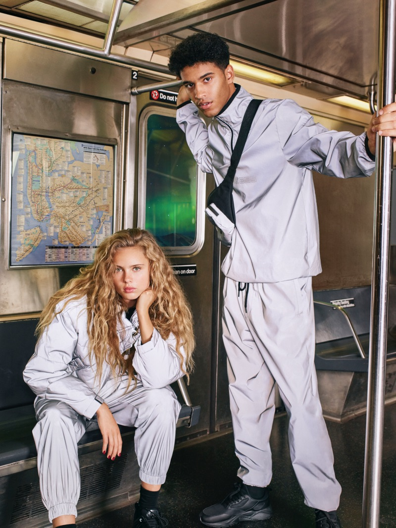 Olivia Vinten and Hector Diaz go sporty in grey looks for Pull & Bear's fall-winter 2019 campaign.