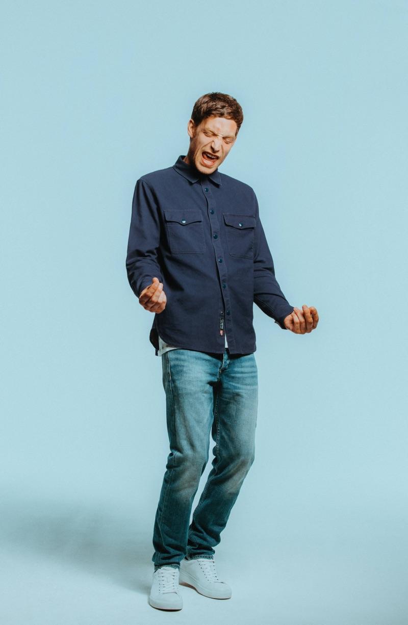 Taking to the studio, James Jagger wears Rag & Bone denim.
