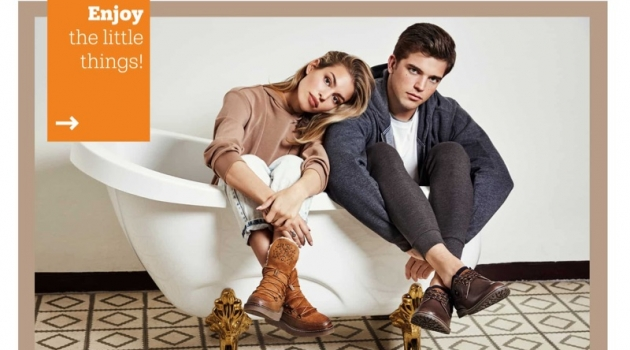 Posing in a bathtub, Jessica Goicoechea and River Viiperi star in Refresh Shoes' fall-winter 2019 campaign.