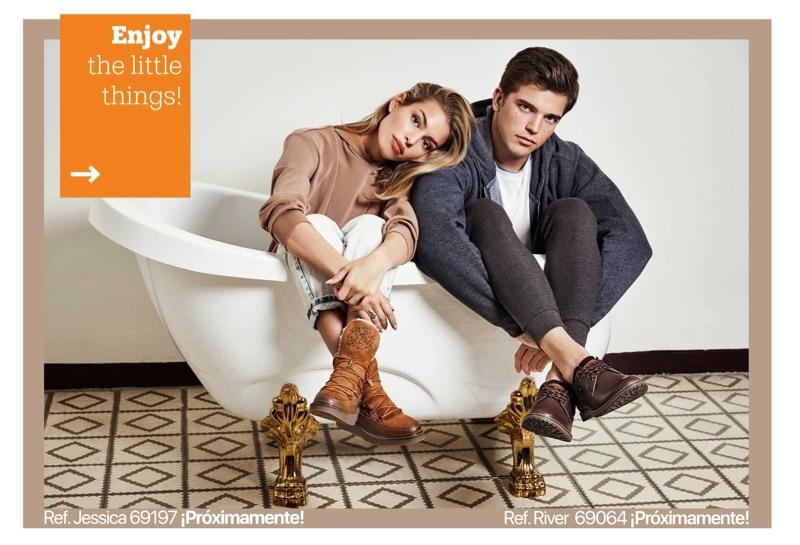 Posing in a bathtub, Jessica Goicoechea and River Viiperi star in Refresh Shoes' fall-winter 2019 campaign.