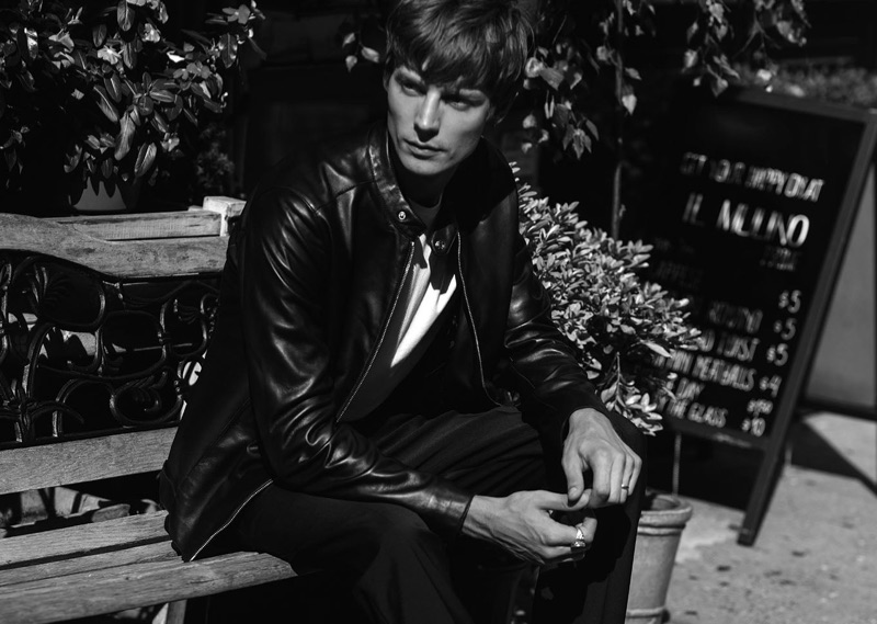 Model Janis Ancens sports a leather moto jacket from Reiss.