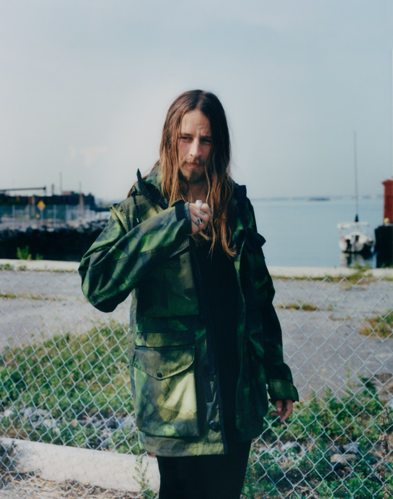 Front and center, Riley Hawk rocks a graphic parka from Rag & Bone.