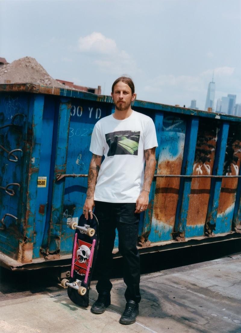 Skateboarder Riley Hawk dons a vintage car tee $150 by Rag & Bone.