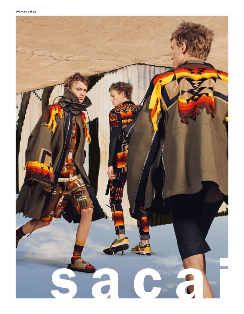 A style standout, Embracing an all-over print, Jonas Glöer stars in Sacai's spring-summer 2019 men's campaign.