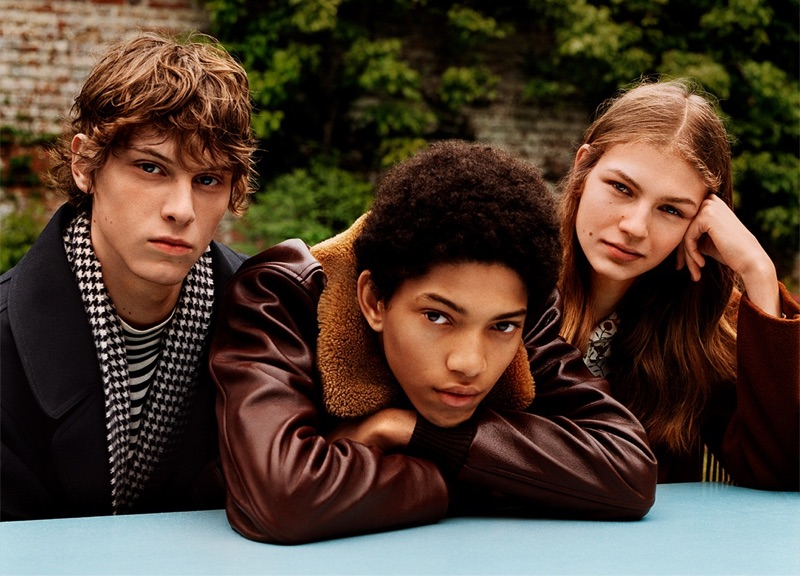 Models Serge Sergeev, Jeranimo van Russel, and Deirdre Firinne front Sandro's fall-winter 2019 campaign.