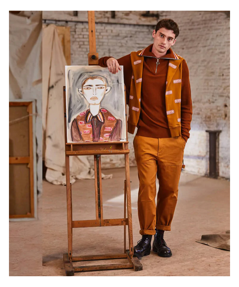 Harrison Griffiths sports a fall look in brown from Scotch & Soda.