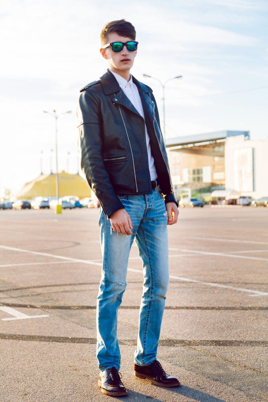 Stylish Man Leather Jacket Skinny Jeans