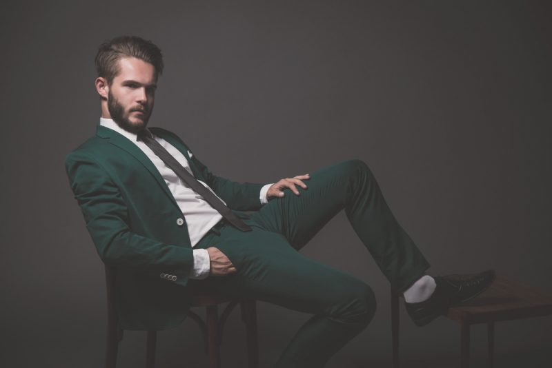 Stylish Man in Green Suit