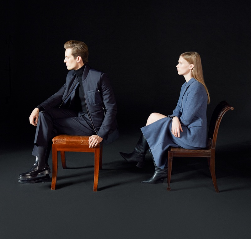Tiger of Sweden enlists models Felix Gesnouin and Sara Eirud as the stars of its fall-winter 2019 campaign.