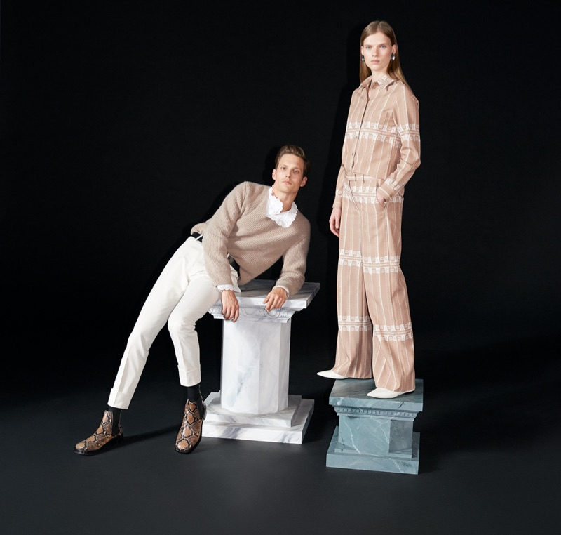 Models Felix Gesnouin and Sara Eirud appear in Tiger of Sweden's fall-winter 2019 campaign.