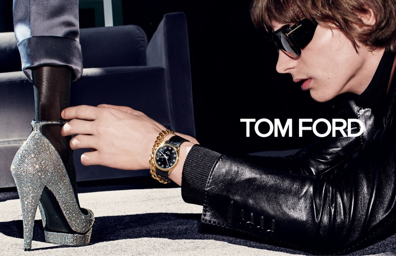 Reuniting with Tom Ford, Erik van Gils appears in the brand's fall-winter 2019 campaign.