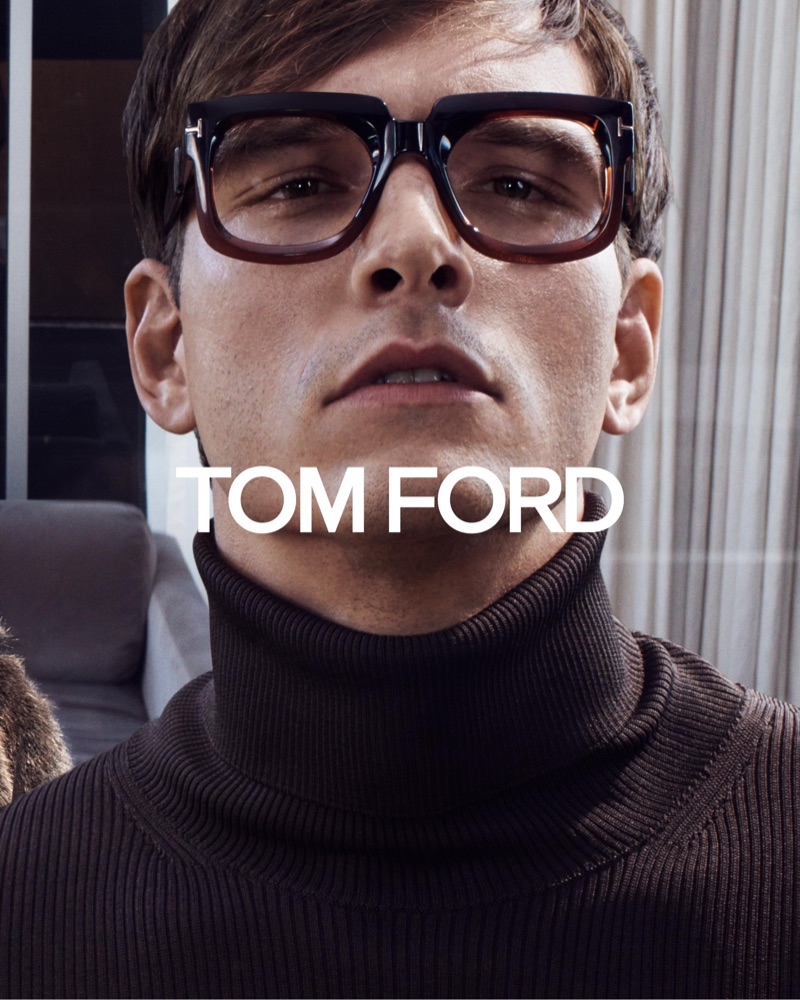 Brazilian model Alexandre Cunha stars in Tom Ford's fall-winter 2019 eyewear campaign.