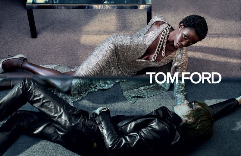 Anok Yai and Erik van Gils appear in Tom Ford's fall-winter 2019 campaign.