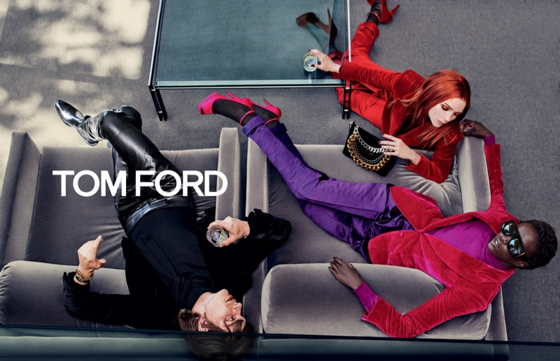 Models Erik van Gils, Mariacarla Boscono, and Anok Yai come together for Tom Ford's fall-winter 2019 campaign.
