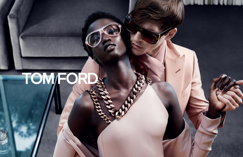 Steven Klein photographs Anok Yai and Alexandre Cunha for Tom Ford's fall-winter 2019 campaign.