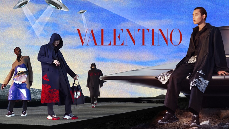 Cheikh Kebe, Keiju Furuya, Azuri Enomoto, and Yuki Kawahara star in Valentino's fall-winter 2019 campaign.