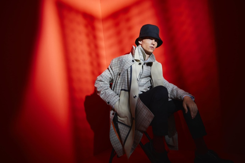 Luc Defont-Saviard wears a look from Zara Man's traveler collection.