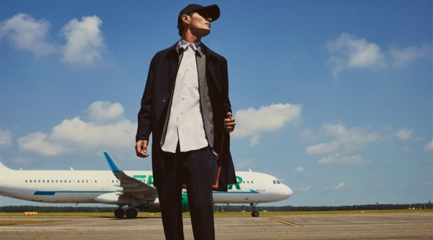 Ready for takeoff, Julien Sabaud sports a look from Zara's sleek Traveler collection.