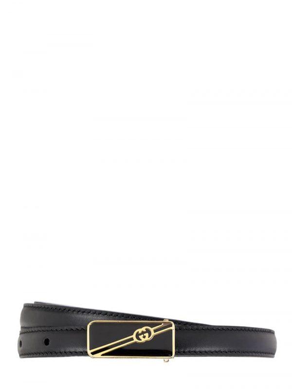 15mm Leather Belt W/enamel Logo Buckle