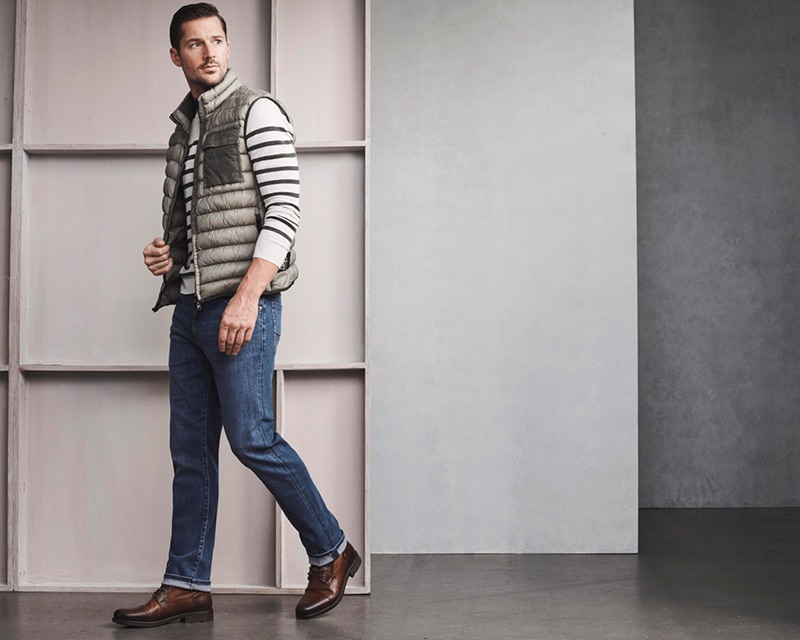 Connecting with 34 Heritage for fall-winter 2019, Andrew Shaw sports the brand's Courage mid-rise, straight leg mid urban jeans.