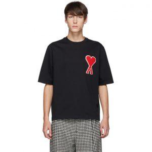 AMI Alexandre Mattiussi Black Ami De Coeur Patch T-Shirt