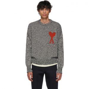 AMI Alexandre Mattiussi Black and White Oversized Ami De Coeur Sweater