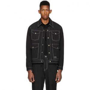 AMI Alexandre Mattiussi Black and White Pinstripe Jacket
